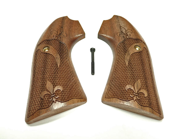 Fleur Dis Le Walnut Ruger Vaquero Bisley Grips Checkered Engraved Textured