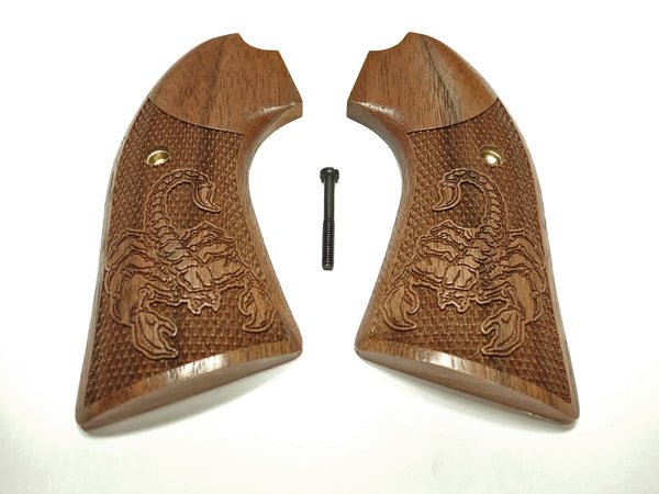 Scorpion Walnut Ruger Vaquero Bisley Grips Checkered Engraved Textured