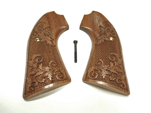 Floral Checker Walnut Ruger Vaquero Bisley Grips Checkered Engraved Textured