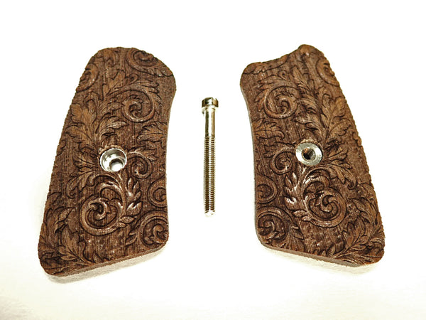 Floral Scroll Walnut Ruger Sp101 Grip Inserts