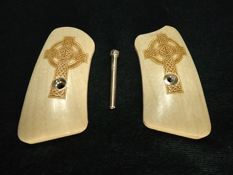 Celtic Cross Maple Ruger Sp101 Grip Inserts