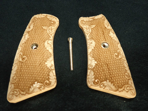 Checkered Floral Maple Ruger Gp100 Grip Inserts