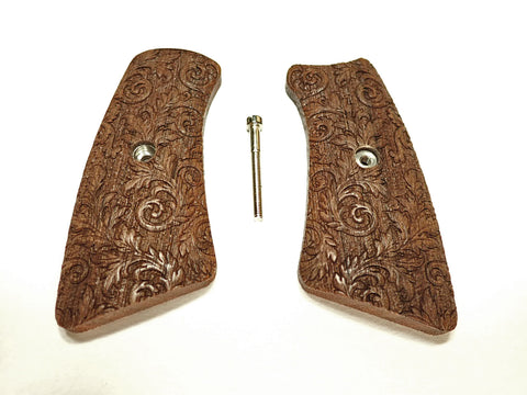 Floral Scroll Walnut Ruger Gp100 Grip Inserts