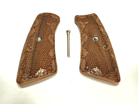 Checkered Floral Walnut Ruger Gp100 Grip Inserts