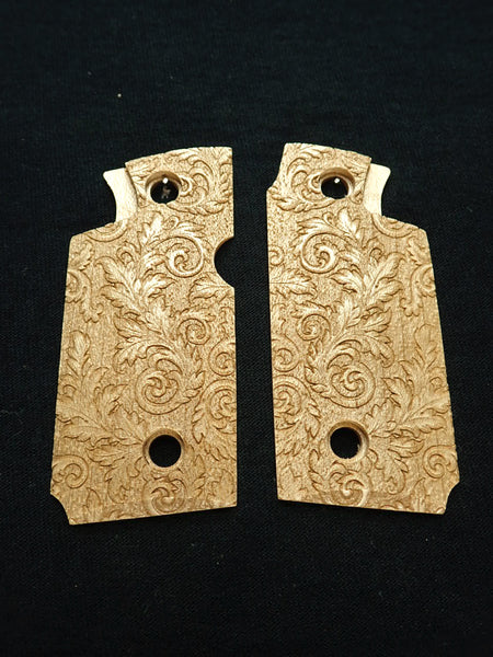 Floral Scroll Maple Springfield Armory 911 .380 Grips