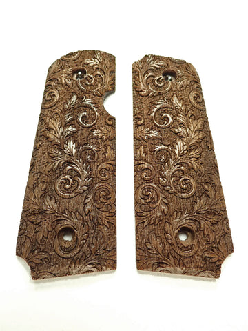 Floral Scroll Walnut Rock Island 380 1911 Grips