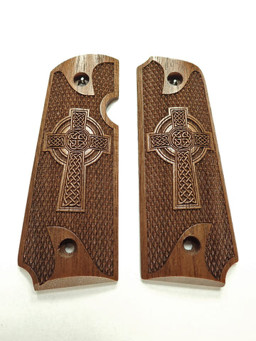 Celtic Cross Walnut Rock Island 380 1911 Grips