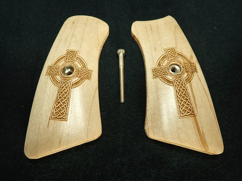 Celtic Cross Maple Ruger Gp100 Grip Inserts