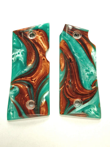 Copper & Turquoise Pearl Colt Mustang Pocketlite Grips