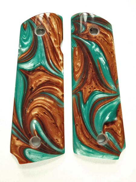 Copper & Turquoise Pearl 1911 Grips (Full Size)