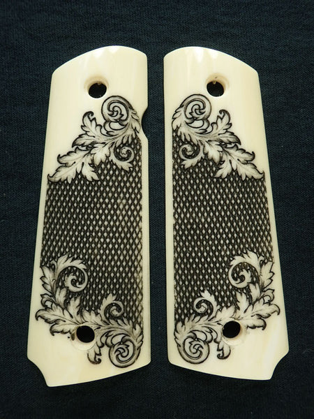 Engraved Faux Ivory Checkered Floral 1911 Grips (Full Size) Textured