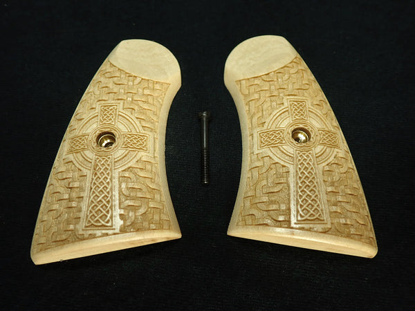 Celtic Cross Maple Uberti Schofield Grips Engraved Textured