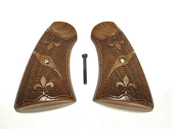Fleur Dis Le Walnut Uberti Schofield Grips Checkered Engraved Textured