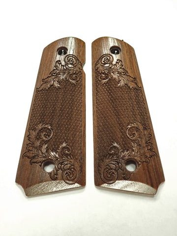 Floral Checker Walnut 1911 Grips (Full Size)
