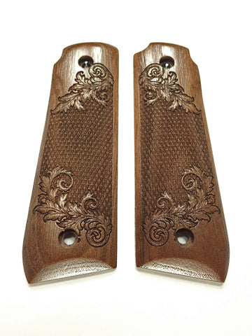 Floral Checker Walnut Ruger Mark IV 22/45 Grips Checkered Engraved Textured
