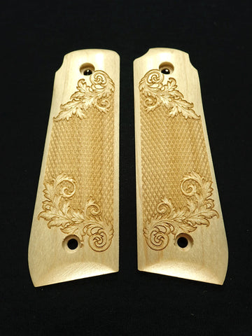 Floral Checker Maple Ruger Mark IV 22/45 Grips Checkered Engraved Textured