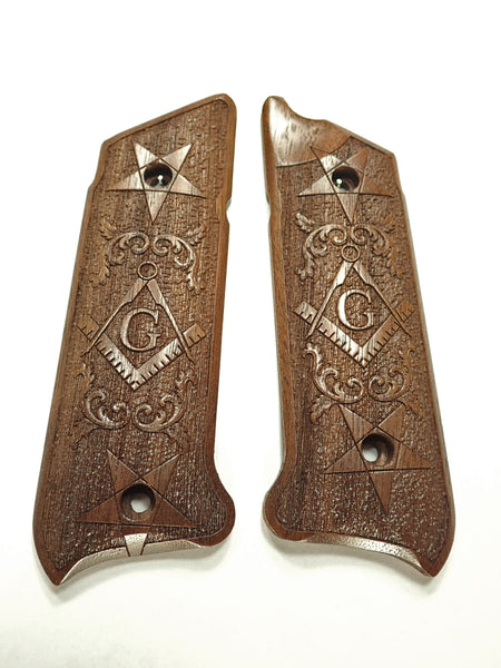 Masonic Walnut Ruger Mark IV Grips Engraved Textured