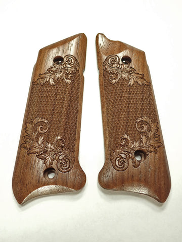 Floral Checker Walnut Ruger Mark IV Grips Checkered Engraved Textured