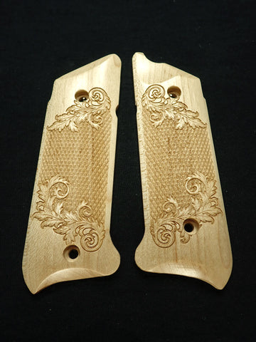 Floral Checker Maple Ruger Mark IV Grips Checkered Engraved Textured