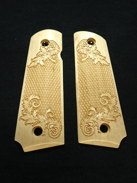 Floral Checker Maple Grips Compatible/Replacement for Browning 1911-22 1911-380 Grips