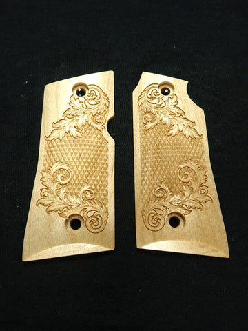 Floral Checker Maple Colt Mustang Pocketlite Grips