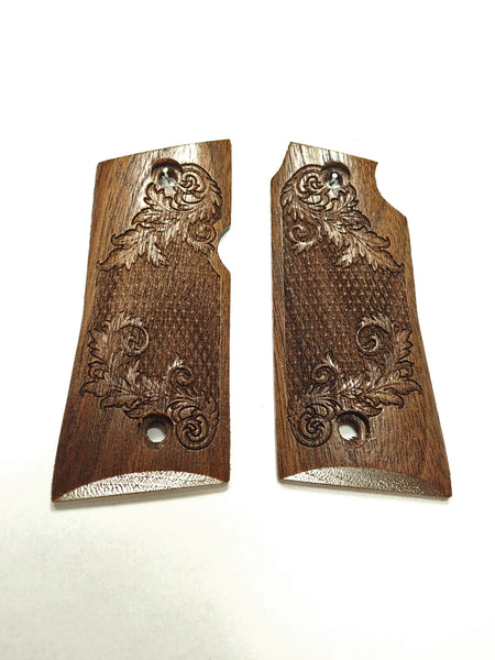 Floral Checker Walnut Colt Mustang Pocketlite Grips