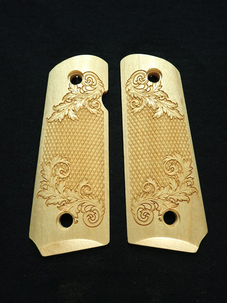 Floral Checker Maple 1911 Grips (Compact)