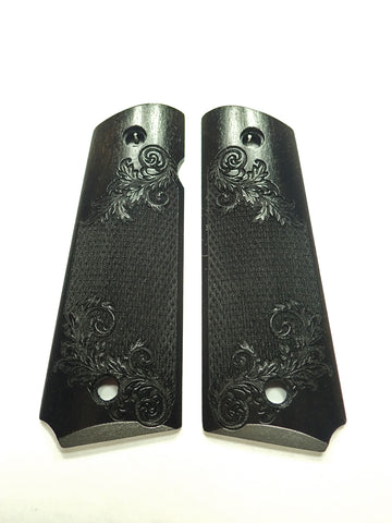 Ebony Floral Checker 1911 Grips (Full Size)