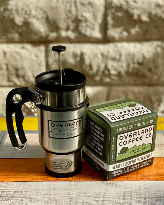 French Press Everyday Coffee Packets 5-Count Box and French Press Travel Mug