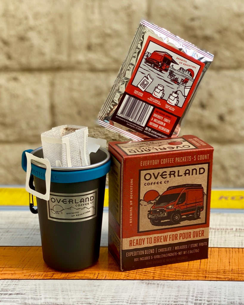 Pour Over Everyday Coffee Packets 5-Count Box and Earthwell Camp Cup