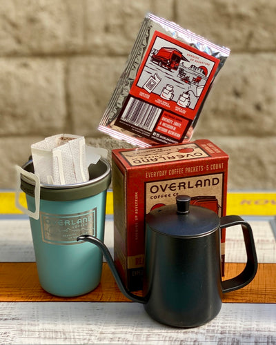 Pour Over EDC Packets 5-Count Box, Earthwell Camp Cup and 350ml Kettle
