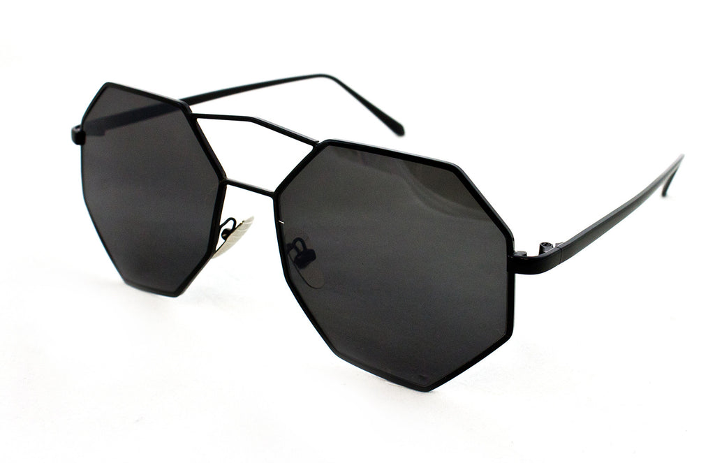 Trendy Octagon Geometric Aviator Inspired Sunglasses with a Black Metal Frame and UV400 Protected Smoke Flash Lens.