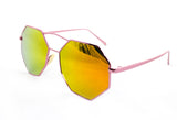 Trendy Octagon Geometric Aviator Inspired Sunglasses with a Pink Metal Frame and UV400 Protected Orange Flash Lens.