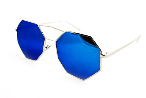 Trendy Octagon Geometric Aviator Inspired Sunglasses with a Gold Metal Frame and UV400 Protected Blue Flash Lens.