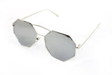 Trendy Octagon Geometric Aviator Inspired Sunglasses with a Silver Metal Frame and UV400 Protected Mirror Flash Lens.