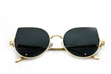 Classic Cat Eye Design with Air Brushed Aluminum Gold Frame and UV400 Protected Smoke Lens Sunglasses.