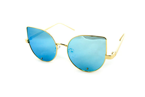 Classic Cat Eye Design with Air Brushed Aluminum Gold Frame and UV400 Protected Blue Flash Lens Sunglasses.