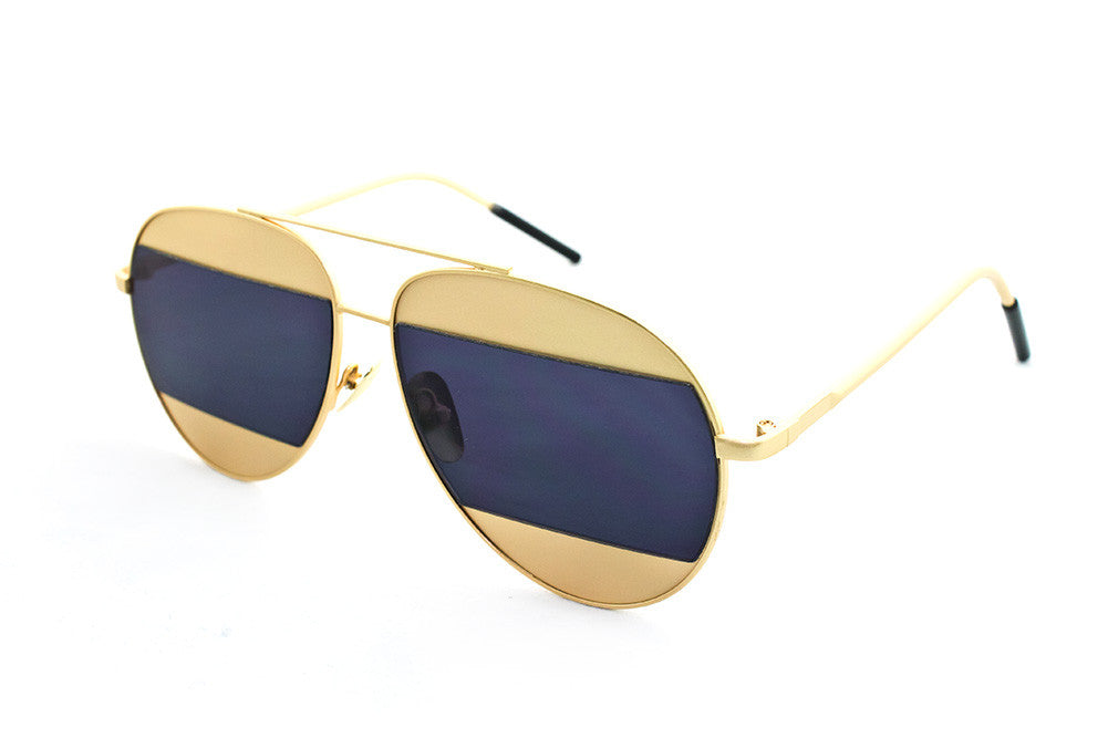 Classic Aviator Inspired Air Brushed Aluminum Gold Framed Spring Hinge Sunglasses with Double Color UV Protected Smoke Lens.