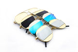 Classic Aviator Inspired Air Brushed Aluminum Framed Spring Hinge Sunglasses with Double Color UV Protected Flash Lens.