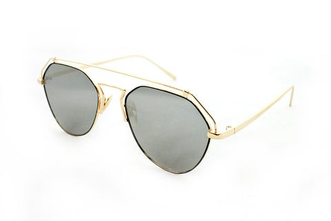 Modern Geometric Aviator Inspired Air Brushed Aluminum Gold Frame Sunglasses with UV 400 Protected Smoke Flash Lens.