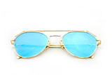 Modern Geometric Aviator Inspired Air Brushed Aluminum Gold Frame Sunglasses with UV 400 Protected Blue Flash Lens.