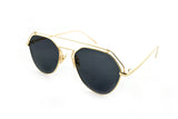 Modern Geometric Aviator Inspired Air Brushed Aluminum Gold Frame Sunglasses with UV 400 Protected Black Flash Lens.