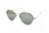 Modern Geometric Aviator Inspired Air Brushed Aluminum Silver Frame Sunglasses with UV 400 Protected Smoke Flash Lens.