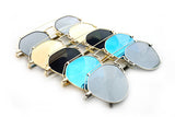 Modern Geometric Aviator Inspired Air Brushed Aluminum Sunglasses with UV 400 Protected Flash Lens.