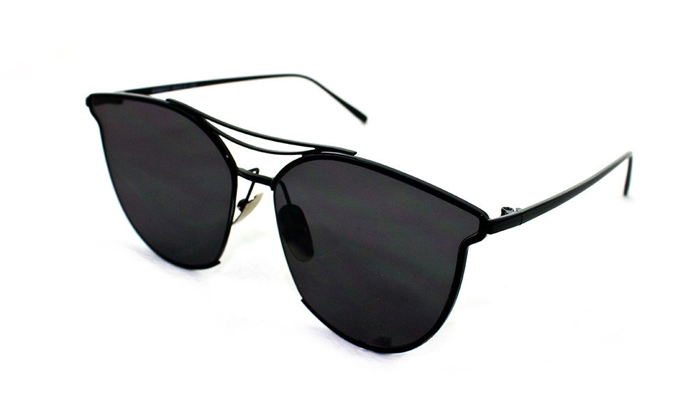 Classic Cat Eye Aviator Geometric Design Inspired Sunglasses with a Brushed Aluminum Spring Hinge Black Metal Frame with UV400 Protected Smoke Flash Lens.