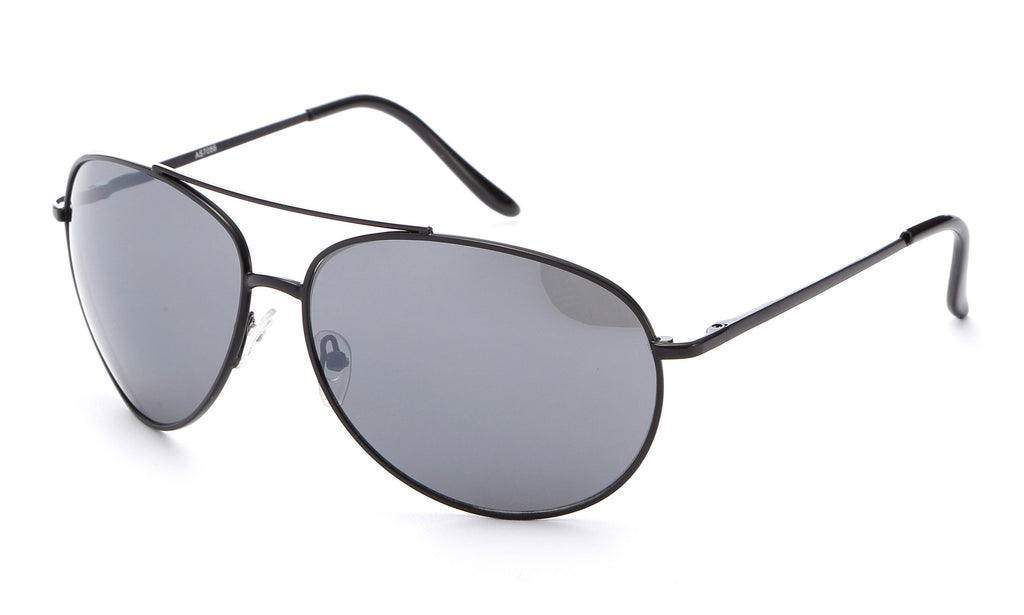 Classic Aviator Inspired Curved Metal Black Frame with Solid Smoke UV 400 Protected Lens.