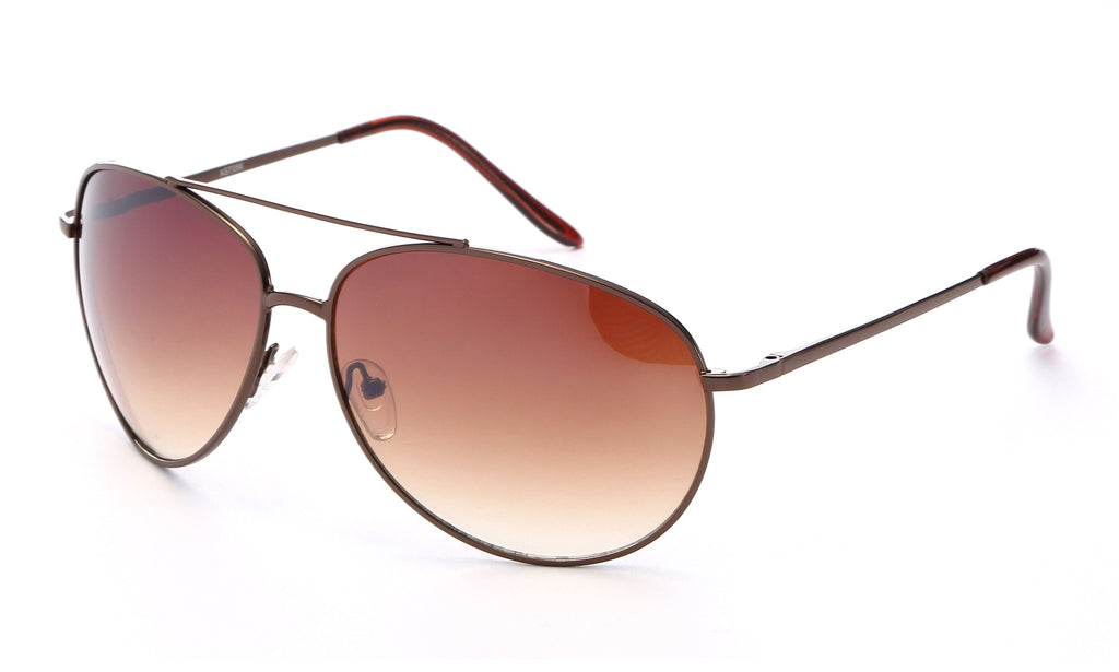 Classic Aviator Inspired Curved Metal Copper Brown Frame with Gradient Brown UV 400 Protected Lens.