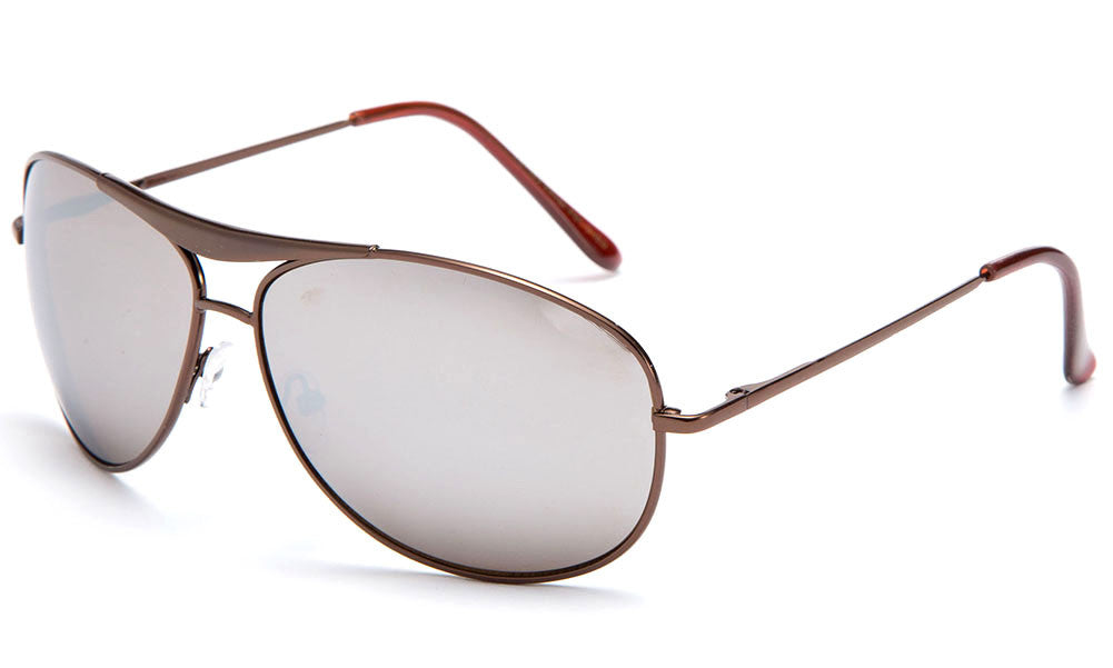 Aviator Inspired Curved Metal Copper Frame Sunglasses with UV 400 Protected Mirror Lens.