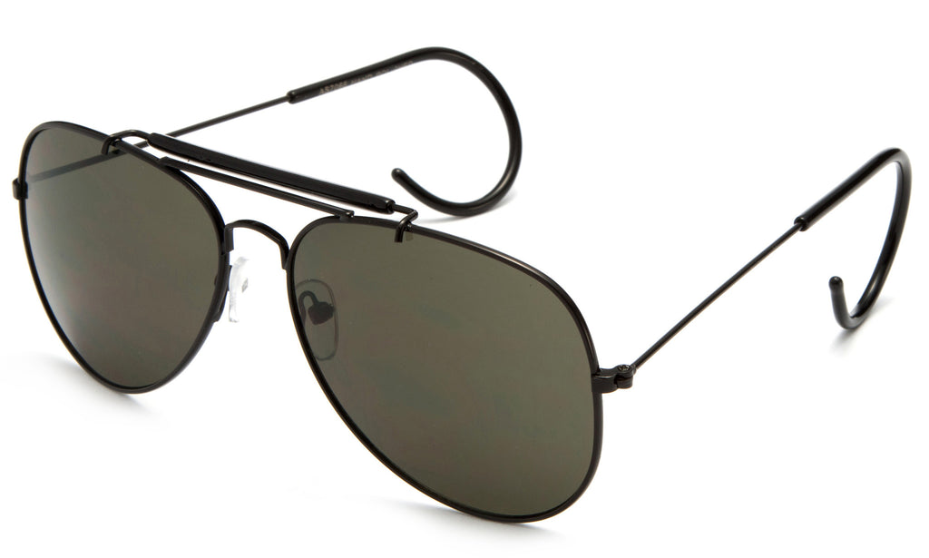 Aviator Inspired Wrap Around Black Metal Frame Driving Sunglasses with UV Protected Solid Green Lens.