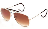 Aviator Inspired Wrap Around Gold Metal Frame Driving Sunglasses with UV Protected Gradient Brown Lens.